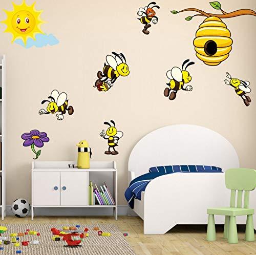 nehmbare Selbstklebende Diy Kunst Moderne Dekorative Tier Farbe Gelbe Biene Wandtattoos Kinder Kindergarten Schlafzimmer Tapete Hause Abnehmbare Wanddekoration Aufkleber ()