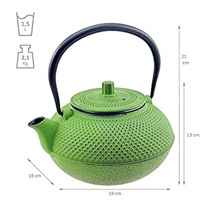 Cafetière–PICHET–1,5L–vert–avec passoire à thé Théière asiatique en fonte