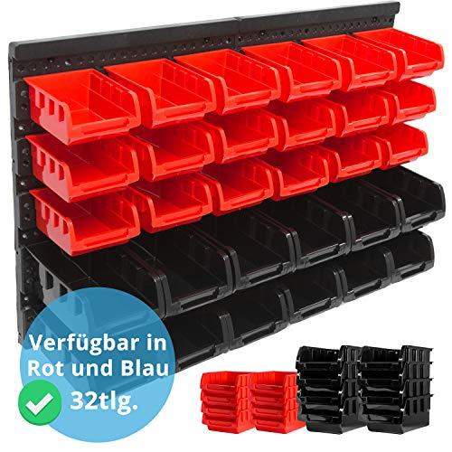 Panorama24 Wandregal + Stapelboxen | 32 tlg Box | ROT | extra starke Wandplatten | Regal erweiterbar | Werkstattregal Lagerregal Werkstattwandregal Steckregal