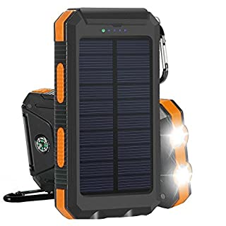 AIJIWU Solar Charger, Solar Power Bank 10000mAh Outdoor Portable Charger Dual USB External Battery Pack Power Pack with Dual LED Flashlights Carabiner Compass for Emergency Camping Travel