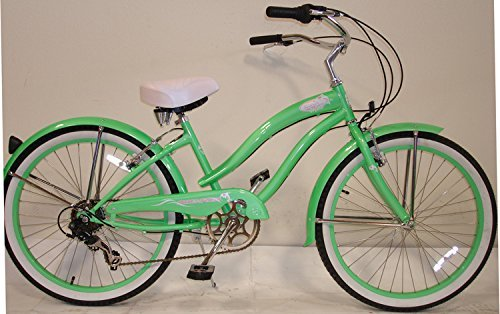 Micargi Rover 7-speed 24 for Women (Mint green), Beach Cruiser Bike Schwinn Nirve Firmstrong Style by Micargi