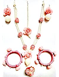 Floret Jewellery Party Wear Pink Rose Flower Jewellery Set With Pearls For Women & Girls (Bangles, Ring, Earrings...