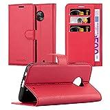 Cadorabo Hülle für Motorola Moto X4 - Hülle in Karmin ROT - Handyhülle mit Kartenfach & Standfunktion - Case Cover Schutzhülle Etui Tasche Book Klapp Style