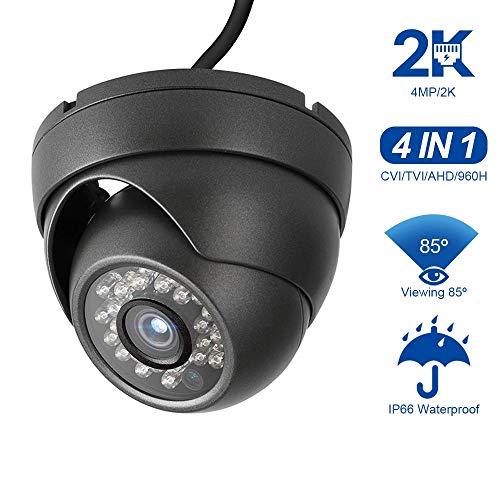 Dericam 4MP HD 2K@25fps Outdoor/Indoor Dome Security Camera,  HDCVI/HDTVI/AHD/960H(CVBS) 4-in-1 CCTV Surveillance Camera, IP66  Weatherproof, 24