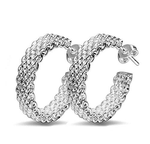 Sicond 1 Paar Frauen Ohrstecker Mode Charming Elegant Mesh Woven Ohrringe Silber Schmuck Ohrstecker für Frauen Mädchen ()