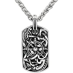 Viking Collar de trabajo rectangular medieval con nudo de nudo, cadena de metal plateado envejecido, nudo escandinavo Mjolnir, señoras, hombres y mujeres, saxon nordico celta nordico, C273