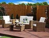 New Algarve Rattan Wicker Weave Garden Furniture Patio Conservatory Sofa Set,INCLUDES OUTDOOR PROTECTIVE