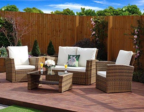 New Algarve Rattan Wicker Weave Garden Furniture Patio Conservatory Sofa Set (Light Mixed Brown)