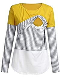 2cc41a68b6891 HEETEY Women Mom Pregnant Nursing Baby Maternity Long Sleeved Striped  Blouse Clothes Top T-Shirt