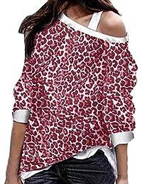 VJGOAL Mujer Otoño E Invierno Moda Casual Estampado de Leopardo Sexy Cuello de Hombro Oblicuo Manga Larga Suelta Sudaderas Loose Fit Tops Blusas