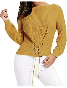 Ibelive Mujeres Otoño Invierno cuello barco con encaje suéter jersey de gran tamaño Jumper hecha punto gancho...