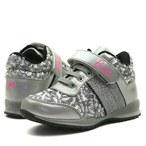 BA103 Barbie Shoes with Velcro Strap Sporty Shoe for Girls >      > Les chaussures de sport avec des sangles velcro pour les filles Silver Grey (argent)