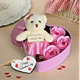 TiedRibbons Valentine's gift for Girlfriend Wife Women Her Lover girl (Heart shaped Box with Teddy and Roses and Wooden Tag)