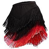 YOUMU Damen Lateinischer Rock Tango Rumba Dancewear Ballroom Fransen Quasten mit Shorts innen, Damen, schwarz/rot, M/Waist: 70 cm/27.6