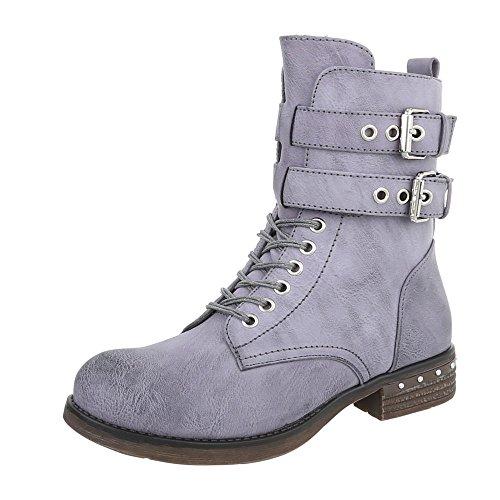 Scarpe da donna Stivali tacco a blocco Western Stivaletti Ital-Design blu grigio