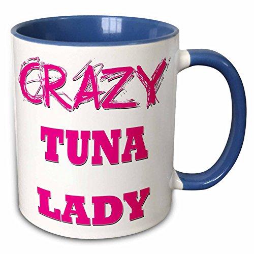 3dRose Crazy Thunfisch Lady-Two Ton Tasse, Keramik, Blau, 10,2x 7,62x 9,52cm
