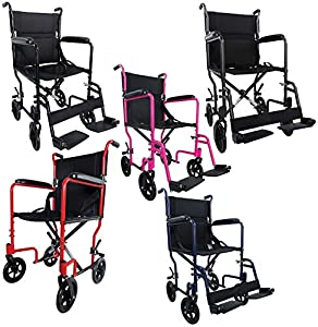 """Aidapt Compact, SUPER LIGHTWEIGHT 10.3KG, Folding Aluminium Transit Wheelchair with SOLID WHEELS. Lap Strap included, Padded PVC Armrests, Detachable Swing Away Footrests, Deluxe Padded Nylon Upholstery. 19"""" SEAT WIDTH Available in a range of colours. Car"""