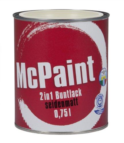 fenster und tuerenlack McPaint 2in1 Buntlack Grundierung und Lack in einem für Innen und Außen. PU verstärkt - speziell für Möbel und Kinderspielzeug seidenmatt Weiß 0,75 Liter - Bastellack- Andere Farben verfügbar