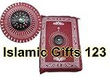 Islamic Gifts 123-------USA---------- Islamische Reisegebetsteppich, mit Taschenformat Tragetasche und Kompass (Burgund)