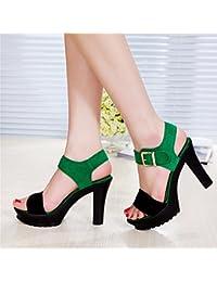 YMFIE Ladies' estate scamosciato con punta diagonali tacco alto sandali Party Wedding Scarpe…