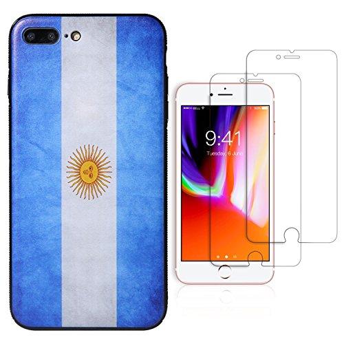 l, National Flagge Design Bezug, Die 2gehärtetem Glas Displayschutzfolie Extra Value Set, 5.5Inch, Argentina National Flag Design ()