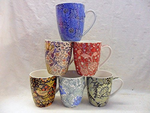 Set Of 6 China Mugs In Assorted Vintage William Morris Designs By Heron Cross Pottery Abbeydale Collection