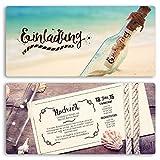 (10 x) Hochzeitseinladungskarten Flaschenpost Flasche Vintage Einladungskarten Hochzeit