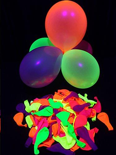 50er-Pack PSYWORK Schwarzlicht Luftballons Neon Gemischt by PSYWORK