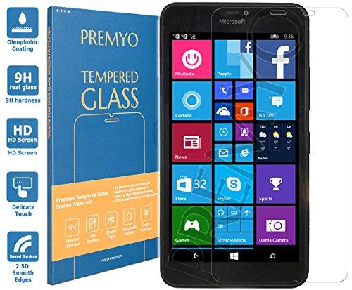 PREMYO Lumia 640 XL Panzerglas. Microsoft Lumia 640 XL Displayschutzfolie mit Härtegrad 9H und abgerundeten Ecken 2,5D. Microsoft Lumia 640 XL Schutzglas