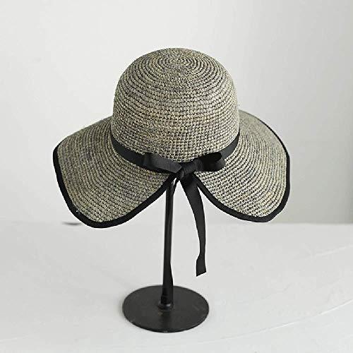 XIAOYANG Hepburn Wind Lafite Strohhut weibliche Sommer Urlaub Strand Hut Slitted Bow Out Reise Sonnenhut, Silber Blatt Asche -