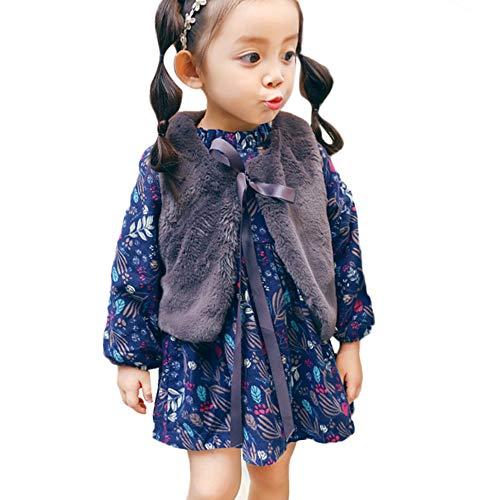 OverDose Damen 2018 Neugeborenen Baby Mädchen Cartoon Warme Prinzessin Liebhaber Print Kleid + Weste Outfits Kleidung Set(W1Marine,6M)