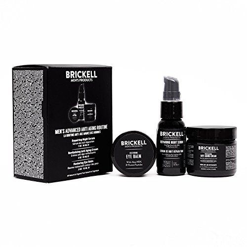 Brickell Men's Advanced Anti-Aging Routine - Nachtcreme für das Gesicht, Vitamin C Gesichtsserum...
