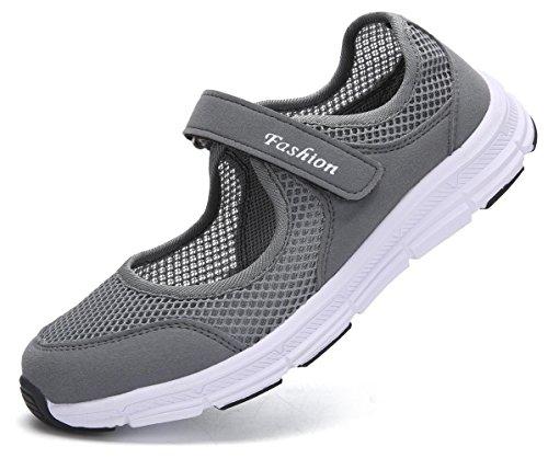 Pastaza Outdoor Fitnessschuhe Damen mit Klettverschluss Leicht Weich Flache Halbschuhe Mesh Atmungsaktive Casual Walking Schuhe Grau, 37 EU