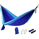 Hamac Portable,GYOYO Hamac Lit,litcamping Pour 1-2 Personnes en Toile De Parachute Tente Lit / Jardin Parachute, Nylon Tissu Voyage Camping, Bleu