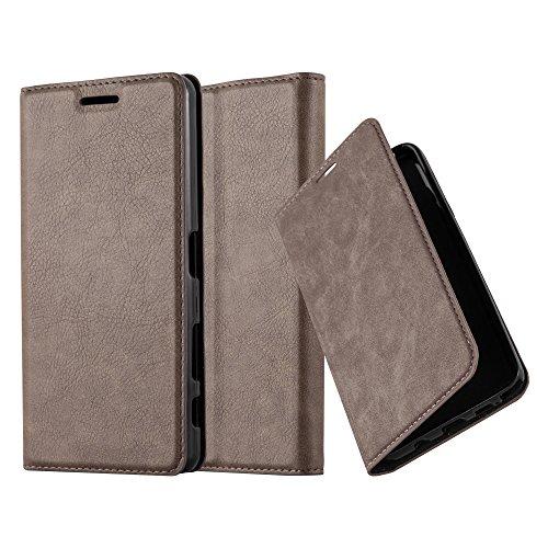 Cadorabo Hülle für Sony Xperia X Performance - Hülle in Kaffee BRAUN – Handyhülle mit Magnetverschluss, Standfunktion und Kartenfach - Case Cover Schutzhülle Etui Tasche Book Klapp Style