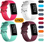 Velavior Waterproof Bands for Fitbit Charge 3/ Charge3 SE, Pack of 4, Soft Adjustable Replacement Wristbands f