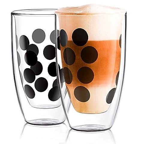 E-PRANCE【2 Pack】Doppelwandige Gläser Thermoglas, Double Wall Glass,350ml*2er Cappuccino Gläser,Latte Macchiato Gläser,Thermoeffekt 120 ℃ augenblickliche Temperaturdifferenz, ideal für Cappuccino,Latte Macchiato, Milch, Saftgetränke,transparent mit moderne Schwarz (Latte Macchiato Tasse)