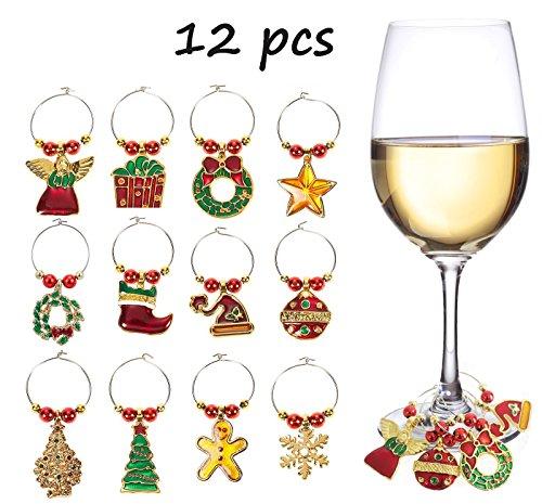 12pcs Weihnachts Weinglasanhänger-Set