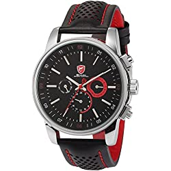 Shark Mens 6 Hands Date Day 24Hrs Black Red Sport Quartz Wrist Watch + Box SH094
