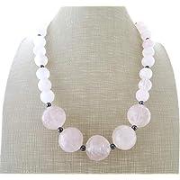 b6186bd88794 Collar de cuarzo rosa natural y hematita gris
