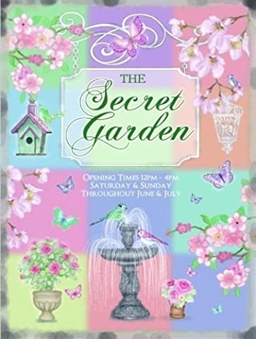 The secret garden. Flowers, birds, water fountain. Pastel colours. Open and close sign. Ideal for shed, garden, greenhouse, kitchen, cafe, home or house. Small Metal/Steel Wall Sign