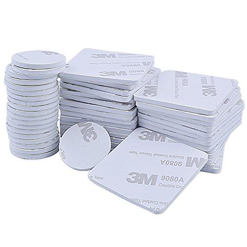 euhuton 50 Stücke Doppelseitig Schaumstoff-Pads Schaumband Doppelseitiges Rundes Klebeband Montage-Pad Selbstklebend 25 mm, 40 mm, Quadratisch und Rund, Weiß -