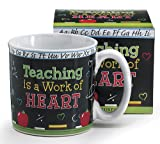 Ceramic mug with Teaching is a work of Heart on a chalk board design with ABC's around rim^13 ounce mug^FDA approved/Dishwasher safe.Microwave safe