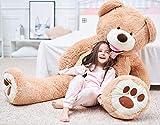 IKASA 160cm Teddy Bear Gigante con Grandes Huellas Juguete de Peluche Suave Animal de Peluche Marrón Claro