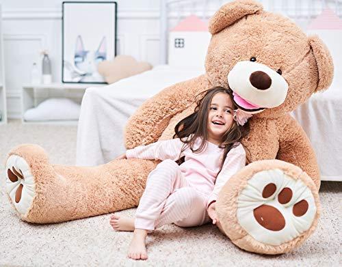 IKASA Giant Teddybär mit großen Fußabdrücken Weiches Plüschspielzeug Stofftiere (Braun, 160cm)