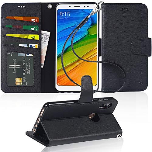 Arae Funda Xiaomi Redmi Note 5 Pro/Xiaomi Redmi Note 5, Funda Libro de Cuero con Tapa [Ranuras de Tarjeta,Cierre Magnético,Soporte Plegable] Funda Protectora Xiaomi Redmi Note 5 Pro/Note 5 - Negro