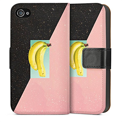 Apple iPhone 4 Housse Étui Silicone Coque Protection Banane Hipster Étoiles Sideflip Sac
