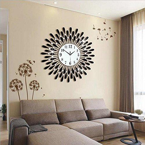 Kreative Mode (Flashing- Europäische Persönlichkeit Stumm Große Wanduhr Moderne Wohnzimmer Kreative Mode Einfache Wanduhr ( Farbe : Schwarz , größe : 70cm ))