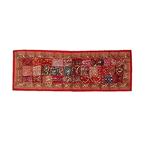 Multicolor Recycled Embroidery Sequins Patches Poly Cotton Wall Hanging