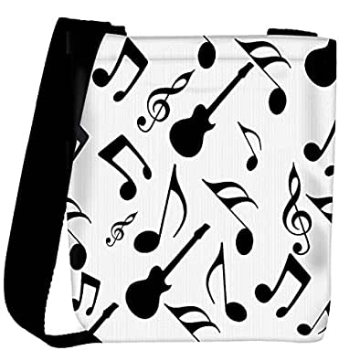 Snoogg Music Strings In Black Designer Womens Carry Around Cross Body Tote Handbag Sling Bags